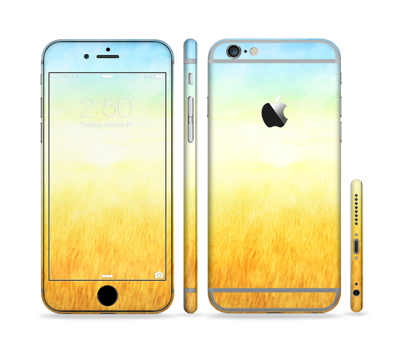 The Painted Tall Grass with Sunrise Sectioned Skin Series for the Apple iPhone 6/6s Plus