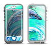 The Pastel Vibrant Blue Dolphin Apple iPhone 5-5s LifeProof Nuud Case Skin Set