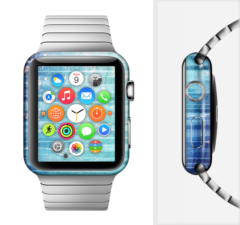 The Patchy Folded Vibrant Blue Paint Full-Body Skin Set for the Apple Watch