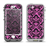 The Pink & Black Delicate Pattern Apple iPhone 5-5s LifeProof Nuud Case Skin Set
