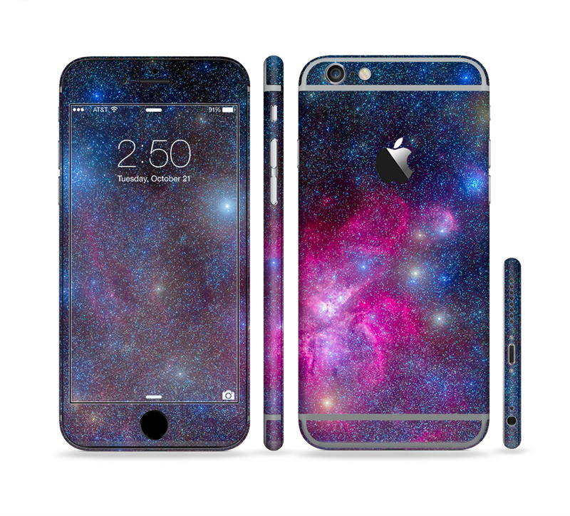 The Pink & Blue Galaxy Sectioned Skin Series for the Apple iPhone 6/6s Plus
