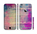 The Pink & Blue Grunge Wood Planks Sectioned Skin Series for the Apple iPhone 6/6s Plus