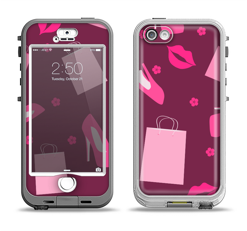 The Pink High Heel Shopping Pattern Apple iPhone 5-5s LifeProof Nuud Case Skin Set