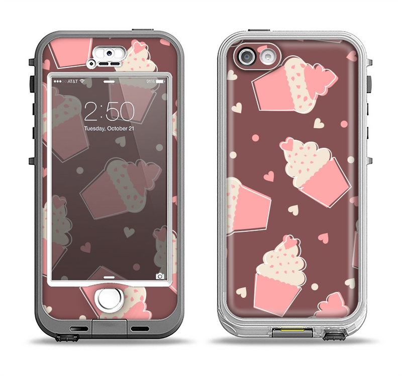 The Pink Outlined Cupcake Pattern Apple iPhone 5-5s LifeProof Nuud Case Skin Set