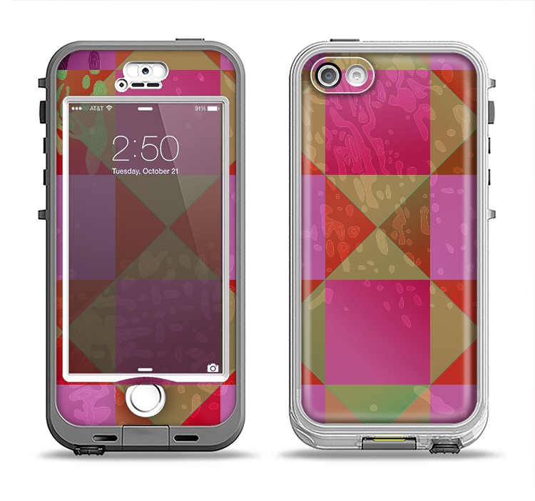 The Pink, Red and Green Drop-Shapes Apple iPhone 5-5s LifeProof Nuud Case Skin Set