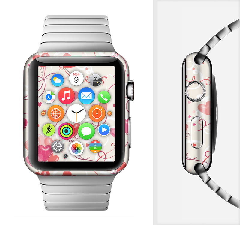 The Pink, Red and Tan Heart Balloon Pattern Full-Body Skin Set for the Apple Watch