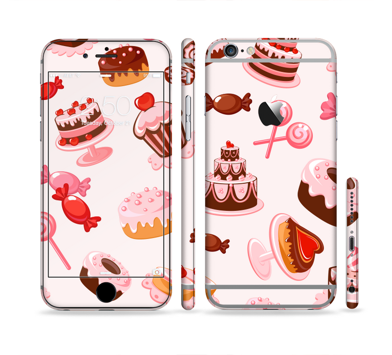 The Pink Sweet Treats Pattern Sectioned Skin Series for the Apple iPhone 6/6s Plus