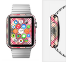 The Pink & Tan Plaid Layered Pattern V5 Full-Body Skin Set for the Apple Watch