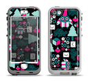 The Pink & Teal Owl Collaged Vector Shapes Apple iPhone 5-5s LifeProof Nuud Case Skin Set