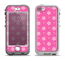 The Pink & Tiny White Floral Pattern Apple iPhone 5-5s LifeProof Nuud Case Skin Set