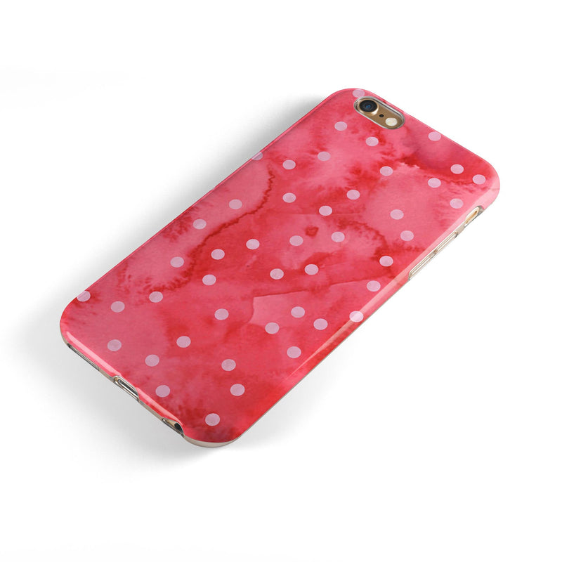 The Pink WAtercolor Grunge with Polka Dots iPhone 6/6s or 6/6s Plus 2-Piece Hybrid INK-Fuzed Case