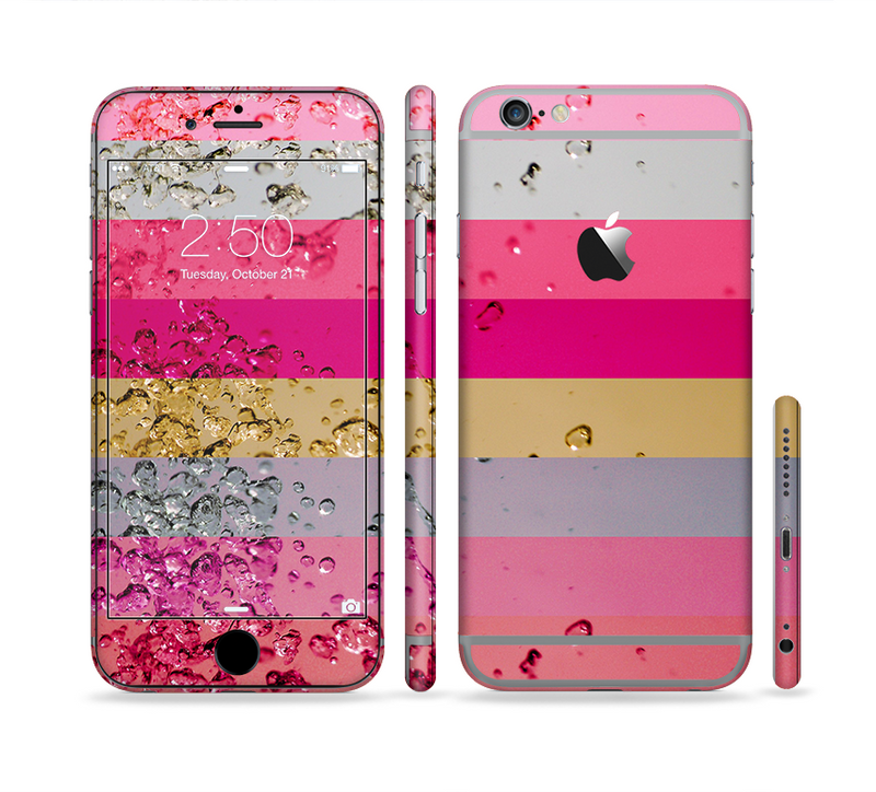 The Pink Water Stripes Sectioned Skin Series for the Apple iPhone 6/6s Plus