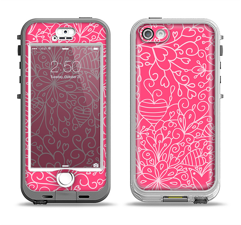 The Pink & White Abstract Illustration V3 Apple iPhone 5-5s LifeProof Nuud Case Skin Set