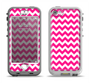 The Pink & White Chevron Pattern Apple iPhone 5-5s LifeProof Nuud Case Skin Set