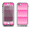 The Pink & White Ombre Chevron V2 Pattern Apple iPhone 5-5s LifeProof Nuud Case Skin Set