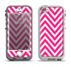 The Pink & White Sharp Chevron Pattern Apple iPhone 5-5s LifeProof Nuud Case Skin Set