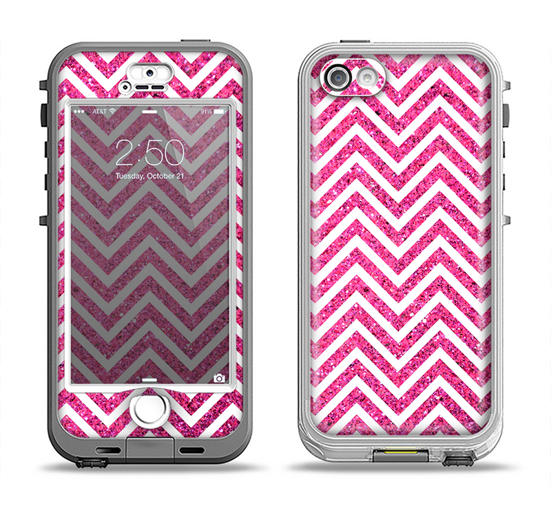 The Pink & White Sharp Glitter Print Chevron Apple iPhone 5-5s LifeProof Nuud Case Skin Set