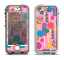 The Pink With Vector Color Treats Apple iPhone 5-5s LifeProof Nuud Case Skin Set