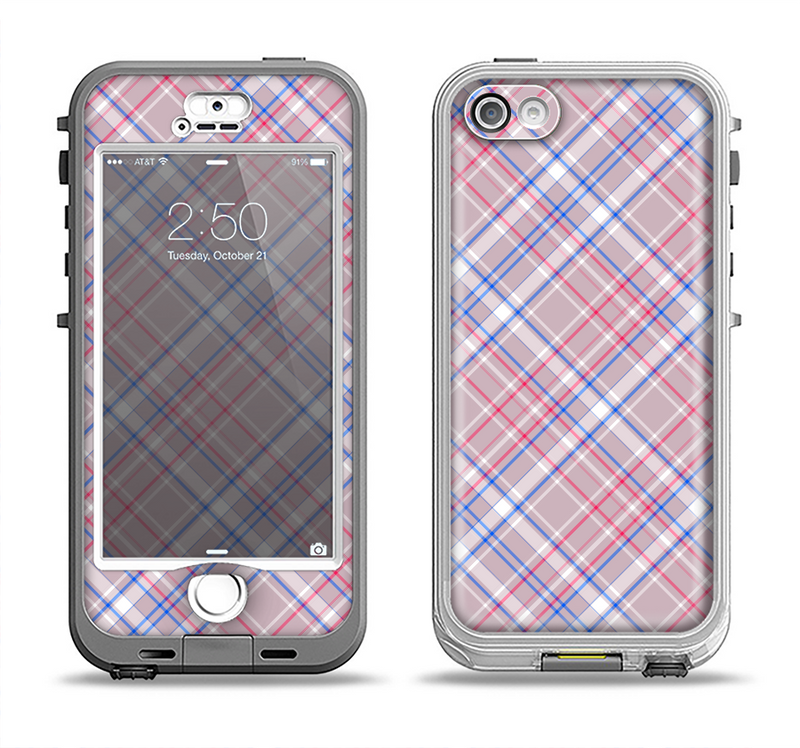 The Pink and Blue Layered Plaid Pattern V4 Apple iPhone 5-5s LifeProof Nuud Case Skin Set