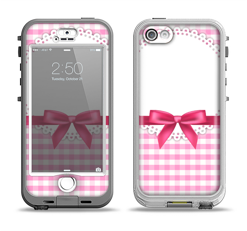 The Pink and White Plaid with Lace and Ribbon Apple iPhone 5-5s LifeProof Nuud Case Skin Set