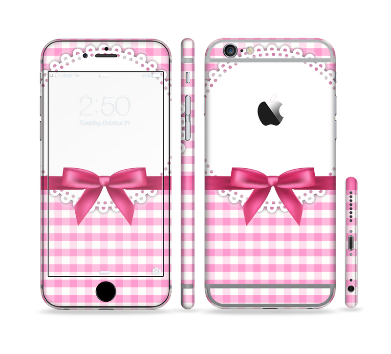 The Pink and White Plaid with Lace and Ribbon Sectioned Skin Series for the Apple iPhone 6/6s Plus