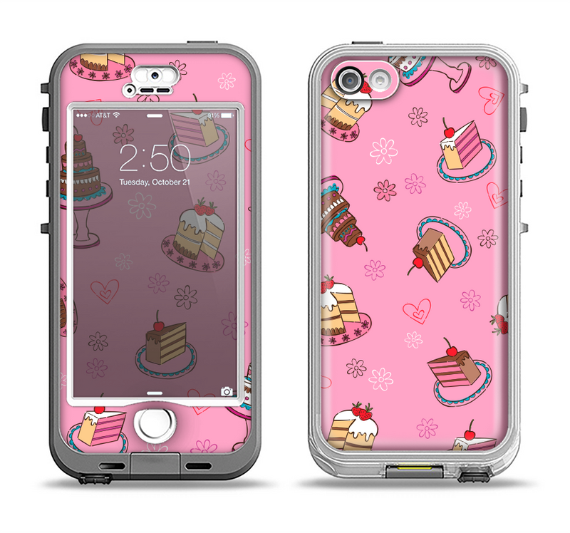 The Pink with Yummy Cakes Apple iPhone 5-5s LifeProof Nuud Case Skin Set