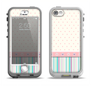 The Polka Dots with Green and Purple Stripes Apple iPhone 5-5s LifeProof Nuud Case Skin Set