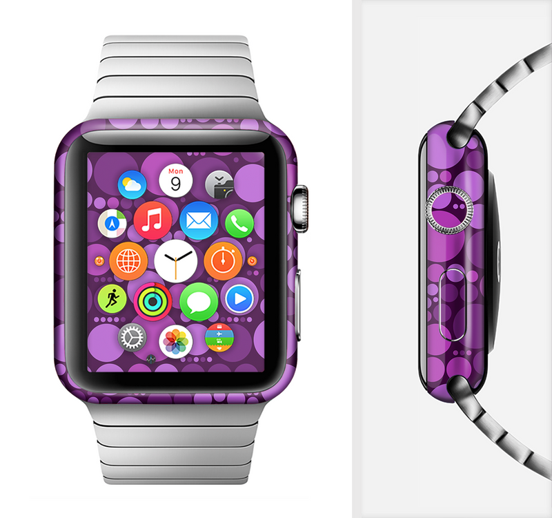 The Purple Circles Pattern Full-Body Skin Set for the Apple Watch