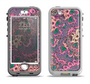 The Purple, Green, and Blue Vector Floral Pattern Apple iPhone 5-5s LifeProof Nuud Case Skin Set