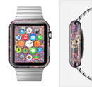 The Purple, Green, and Blue Vector Floral Pattern Full-Body Skin Set for the Apple Watch