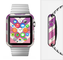 The Purple Scratched Texture Chevron Zigzag Pattern Full-Body Skin Set for the Apple Watch
