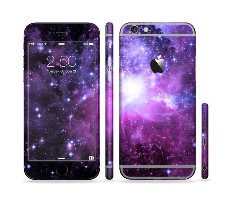 The Purple Space Neon Explosion Sectioned Skin Series for the Apple iPhone 6/6s Plus