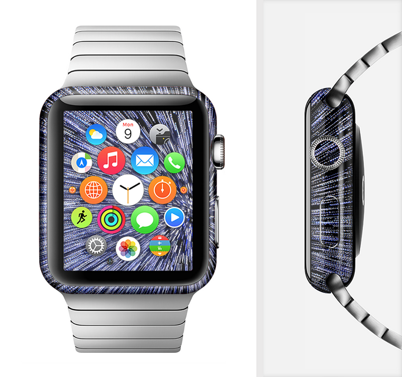 The Purple Zooming Lights Full-Body Skin Set for the Apple Watch