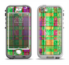 The Purple and Green Plad with Floral Pattern Apple iPhone 5-5s LifeProof Nuud Case Skin Set
