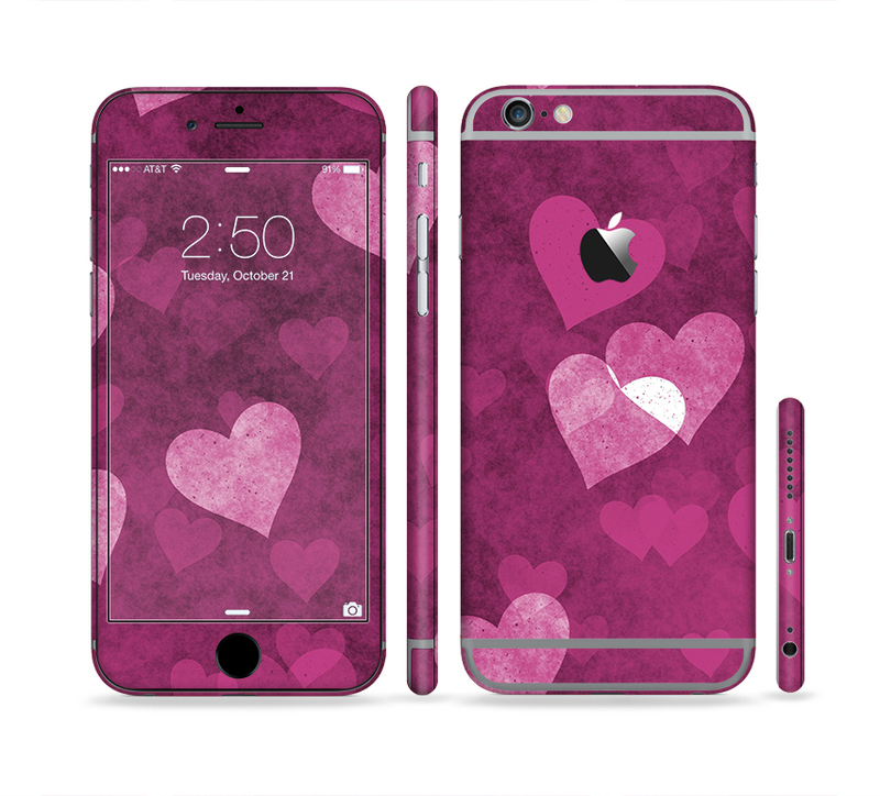 The Purple and Pink Layered Hearts Sectioned Skin Series for the Apple iPhone 6/6s Plus