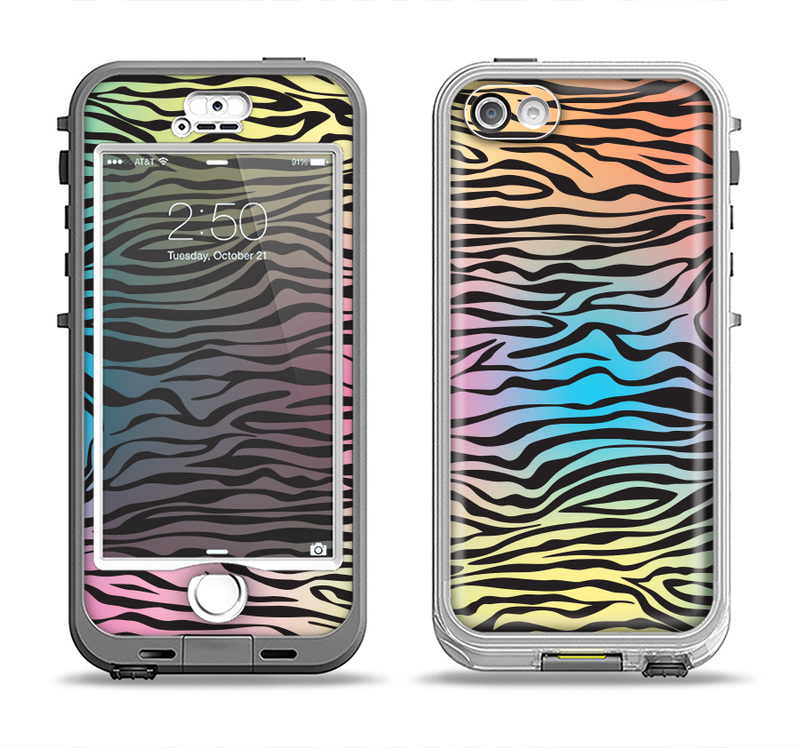 The Rainbow Colored Vector Black Zebra Print Apple iPhone 5-5s LifeProof Nuud Case Skin Set