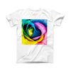 The Rainbow Dyed Rose V3 ink-Fuzed Front Spot Graphic Unisex Soft-Fitted Tee Shirt