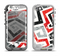 The Red-Gray-Black Abstract V3 Pattern Apple iPhone 5-5s LifeProof Nuud Case Skin Set