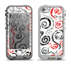 The Red Accented Grayscale Swirl Pattern Apple iPhone 5-5s LifeProof Nuud Case Skin Set