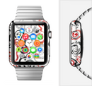 The Red Accented Grayscale Swirl Pattern Full-Body Skin Set for the Apple Watch