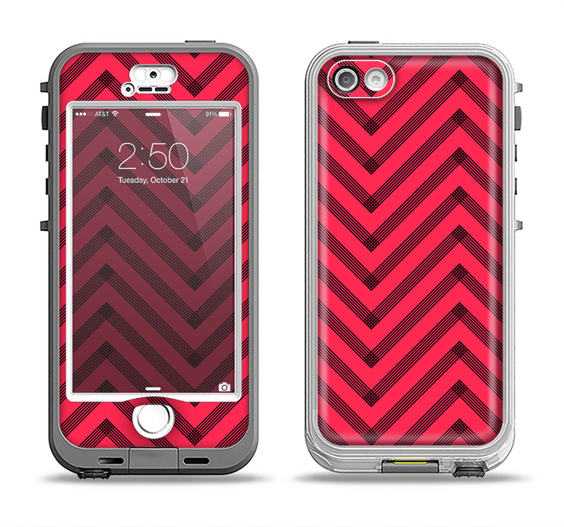 The Red & Black Sketch Chevron Apple iPhone 5-5s LifeProof Nuud Case Skin Set