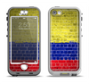 The Red, Blue and Yellow Vibrant Brick Wall Apple iPhone 5-5s LifeProof Nuud Case Skin Set