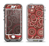 The Red & Brown Creative Flower Pattern Apple iPhone 5-5s LifeProof Nuud Case Skin Set