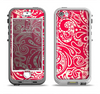 The Red Floral Paisley Pattern Apple iPhone 5-5s LifeProof Nuud Case Skin Set