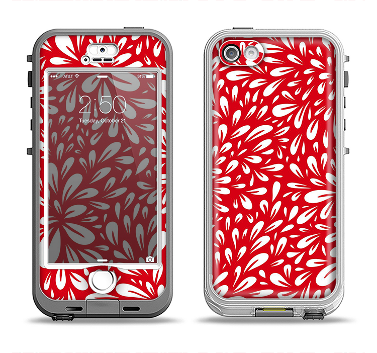 The Red Floral Sprout Apple iPhone 5-5s LifeProof Nuud Case Skin Set