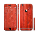 The Red Highlighted Wooden Planks Sectioned Skin Series for the Apple iPhone 6/6s Plus