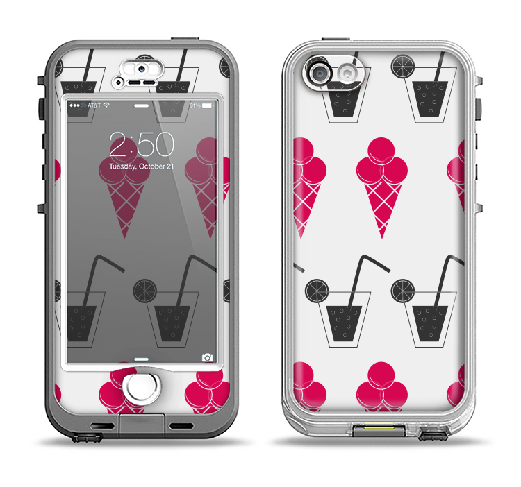 The Red Icecream and Drink Icon Collage Apple iPhone 5-5s LifeProof Nuud Case Skin Set