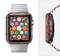 The Red Icon Flowers on Dark Swirl Full-Body Skin Set for the Apple Watch