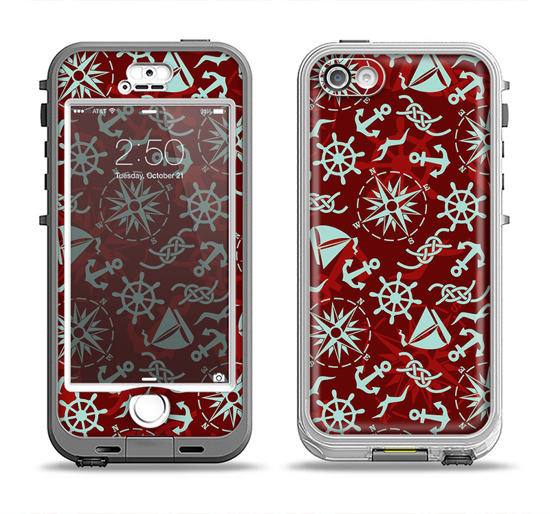The Red Nautica Collage Apple iPhone 5-5s LifeProof Nuud Case Skin Set
