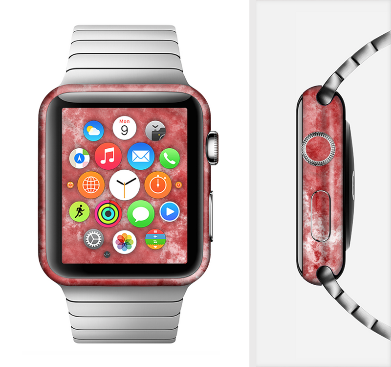 The Red Splotted Paint Texture Full-Body Skin Set for the Apple Watch